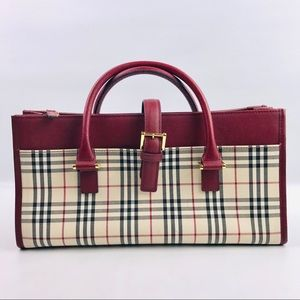 Authentic Burberry Check Red Handbag